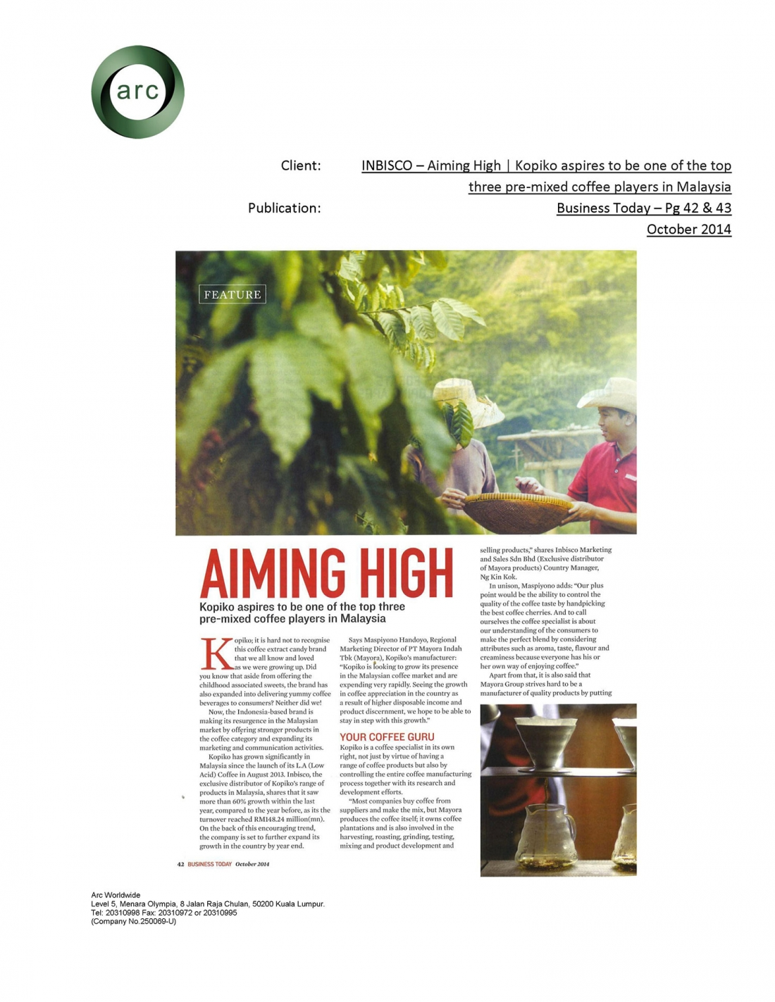 Inbisco Business Today (Oct-2014)